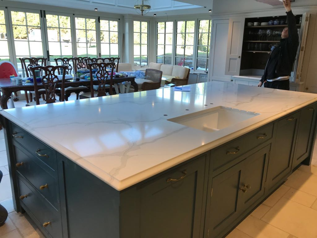 Quartz Worktop Template/Supply and Installation for Mr P in Uxbridge
