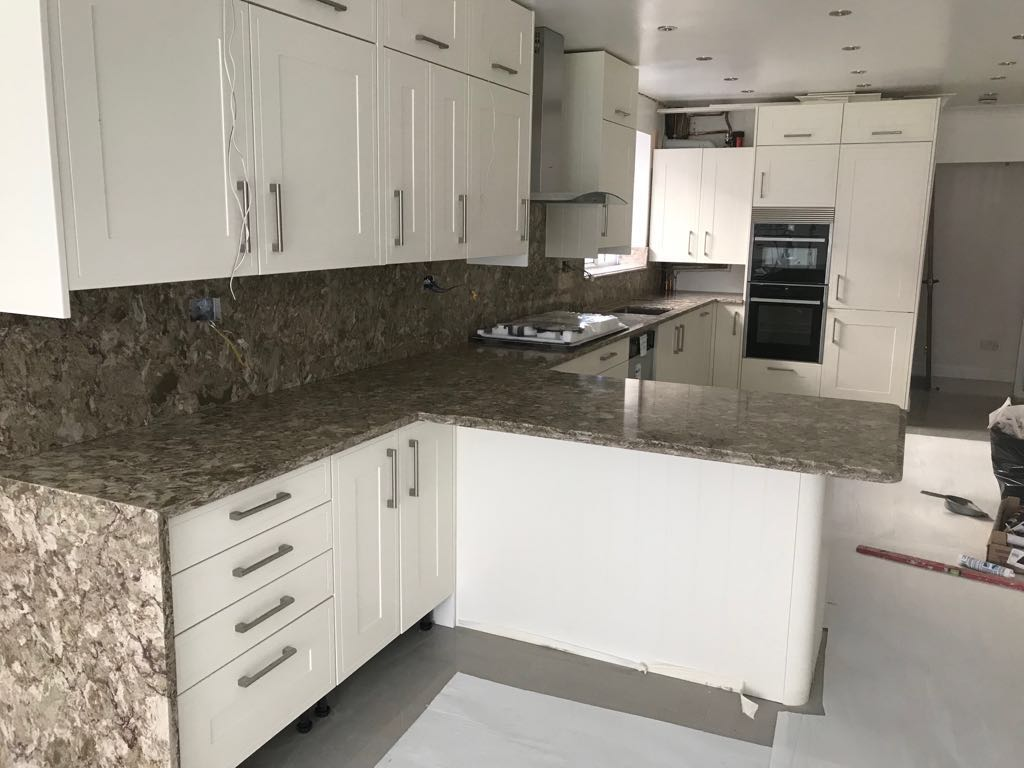 Granite Worktop Template/Supply and Installation for Mr and Mrs Q in Reading